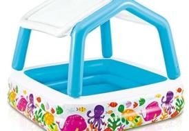 Надувной бассейн детский для детей с надувной крышей Intex