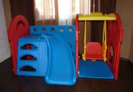 Игровой центр » синий замок» с горкой+качели